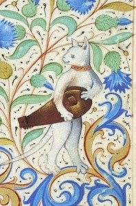 Hurdy gurdy cat, Book of Hours, France, ca 1485-1490